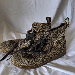 Leopard print lace up boots